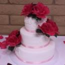 130x130 sq 1413953853561 mooshus basic scroll hot pink wedding cake