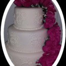 130x130 sq 1413953866048 mooshus scroll and roses wedding cake