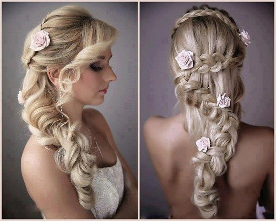 Peachy Bride Makeup Curly Flower Half Up Long Wedding Hair Amp Beauty Short Hairstyles For Black Women Fulllsitofus