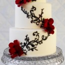 130x130 sq 1414616640117 black and white wedding cake with red flowerss