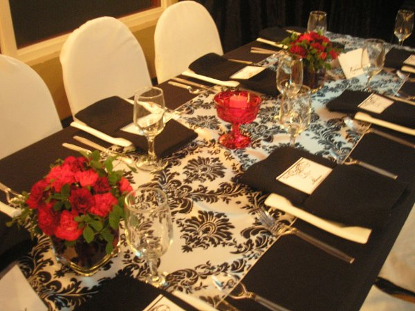 Black And White Damask With Pops Of Burgundy Wedding, Design By Marietta,  Flowers By