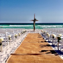 220x220 sq 1474404774220 beach ceremony setup with cross