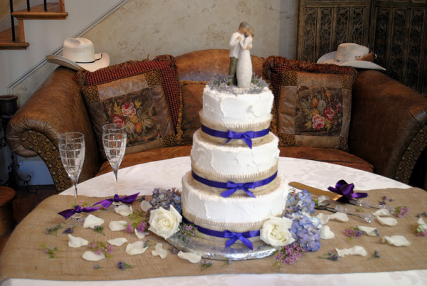 Rustic Wedding Cake With Purple Burlap Cak