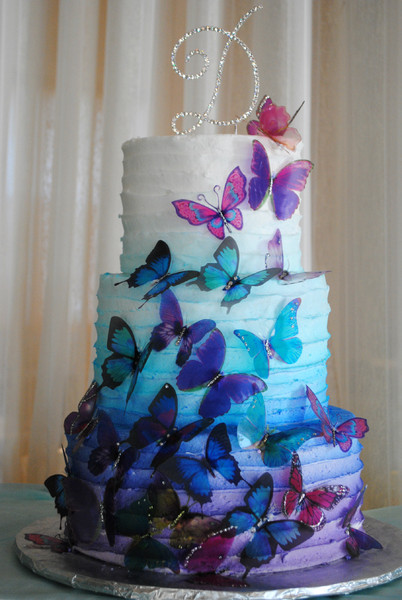 600x600 1389910749359 Rainbow Ombre Wedding Cake Butterfly