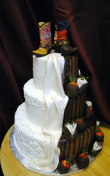 half wedding cake half grooms cake creative cakes by azle tx wedding cake 15054