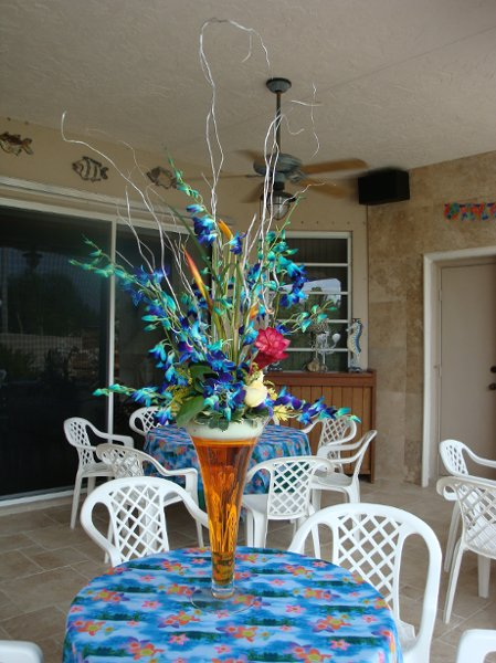 Blue silver centerpiece centerpieces wedding flowers
