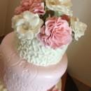 Pale Pink, light pink, sugar paste carnations, sugar paste roses, 3 tier, impression mat, cornelli piping.