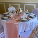 130x130 sq 1290635415520 pinktablerunnerswithtablesetting