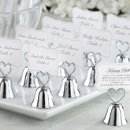 Silver Kissing Bell Place Card Holders