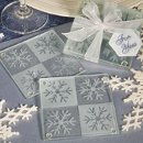 Snowflake Design Glass Coasters