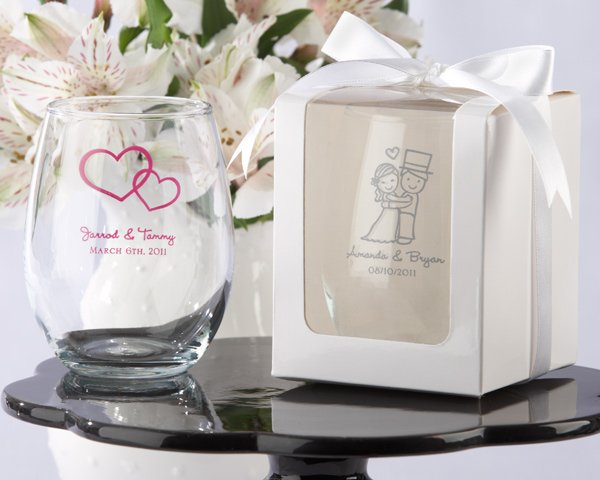 Great unique and elegant wedding favors, Personalized Stemless Wine Glasses, in many designs and colors.