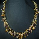 Amber and Purple Glass Cluster Necklace