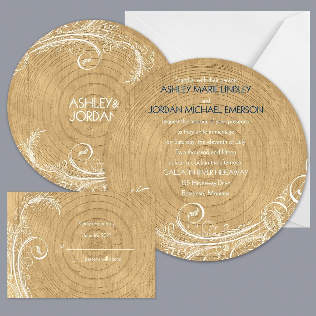woodgrain circle invitation item number db9855aa5c a rustic woodsy or outdoor wedding theme will loading zoom - Outdoor Wedding Invitations
