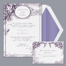 Vintage Monogram - Plum - Invitation Item Number DB51L9V A vintage wedding invitation that creates an antique ambiance and style of old-world charm.