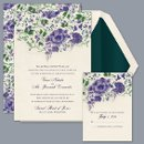 Blooming Beauty - Lapis - Invitation Item Number DB9841AA1H Sweet purple, floral blooms on this wedding invitation create a beautiful border that leads your guest's eyes into the details of your wedding day.