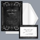 Chalkboard Style - Black - Invitation Item Number DB9855O9G Saturated with black color, this lightly distressed, artistic wedding invitation sets the tone for your nuptials.