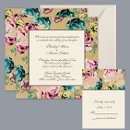 Vintage Border - Golden - Invitation Item Number DB9841AA5F Retro, tinted roses on BOTH SIDES of this floral wedding invitation add vintage appeal to the details of your big day.