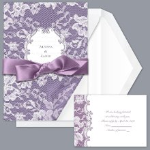 Lace Wrap - Lapis - Invitation Item Number DBN9855O8B Your choice of color creates a romantic background for the sheer lace wrap of this wedding invitation.