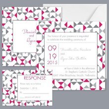 Looking Sharp - Watermelon - Invitation Item Number DB9855AA5G Modern, geometric patterns give this two-sided wedding invitation big style.