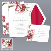 Brittany Roses - Apple - Invitation Item Number DB9855L8T A beautiful, glorious wild rose gives this stylish wedding invitation a vintage feel.