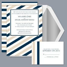 Sassy Stripes - Pool - Invitation Item Number DB9855AA1X Sassy stripes on this wedding invitation alternate with tan stripes and the color of your choice for exceptional style.