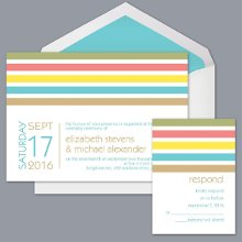 New Dimension - Pool - Invitation Item Number DB9855AA5H Fresh and modern cabana stripes lend a festive feel to a contemporary, two-sided wedding invitation.