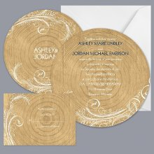 Woodgrain Circle - Invitation Item Number DB9855AA5C A rustic, woodsy or outdoor wedding theme will be complete with this two-sided, wood grain wedding invitation!