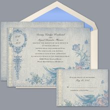 Vintage Garden - Invitation Item Number DB9841AA1M Create drama and elegance with this beautiful, vintage-look wedding invitation featuring an antique bird and floral motif.
