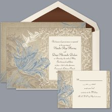 Vintage Love - Cornflower - Invitation Item Number DB9841AA1J This richly elegant, two sided wedding invitation with gorgeous blue parrot tulips and filigree designs will make a grand style statement.