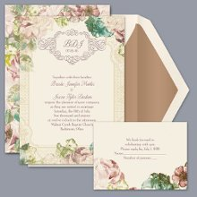 Vintage Blossoms - Invitation Item Number DB9841AA1N Perfect for your summer garden wedding, this vintage, floral-themed wedding invitation is just right!