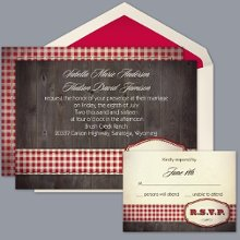 Country Fun - Red - Invitation Item Number DB9841AA1O Red gingham ribbon and barn boards are inspired with country flair on this two-sided, rustic wedding invitation.