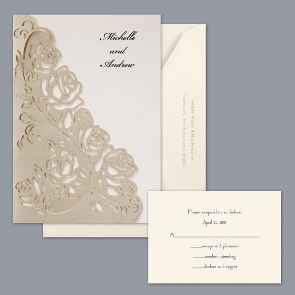 classic formal gold ivory invitations by david's bridal, Wedding invitations