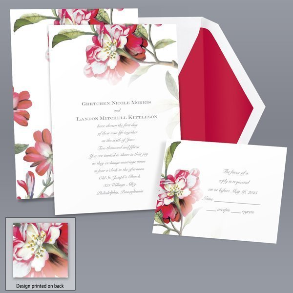 brittany roses apple invitation item number db9855l8t a beautiful glorious wild rose gives loading zoom - Brides Wedding Invitations