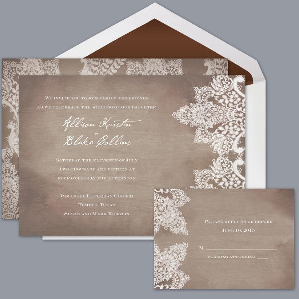 boho chic rustic brown announcement cards invitations by david's, Wedding invitations