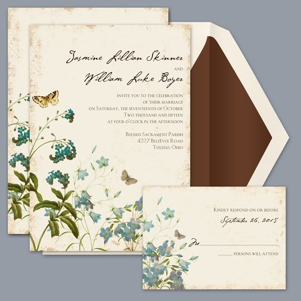 romantic rustic blue brown green invitations by david's bridal, Wedding invitations