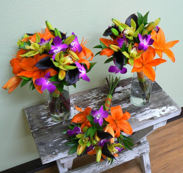 Orange Flower Arrangements For Weddings: Green Orange Purple Bouquet Wedding Flowers Photos