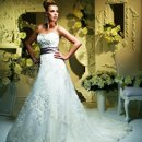 T346 Strapless sweetheart gown with beaded appliques on bodice and skirt. Includes Charmeuse sash.