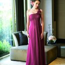 L3001 One-shoulder gown with flower accent at shoulder, gathered front and ruched bodice. Spring 2010 Collection