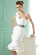 F141024k One-shoulder sweetheart neckline with beaded accent waistband.