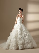 T142016 Strapless sweetheart neckline with gathered bodice and full skirt with beaded flowers.