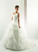 T431 Strapless sweetheart neckline with pleated bodice and full pick-up skirt