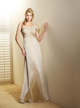 L4004 One-shoulder gown with chiffon drape over arm, beaded accent on strap and ruched waistband. Spring 2011 Collection
