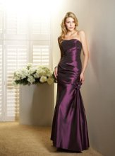 L4018 Strapless gown with ruched bodice and beaded flower accent at hip. Spring 2011 Collection