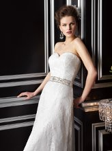 T142067 Sweetheart neckline with cap sleeves. Lace and beading throughout bodice and A-line skirt.