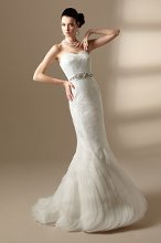 T142022 Strapless sweetheart gown with lace bodice and skirt.
