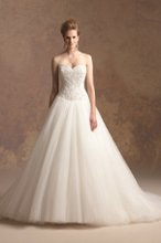 T152006 Soft tulle ball gown with beaded and embroidered flower pattern on bodice.
