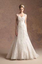 T152010 A-line gown with embroidered lace overlay and beaded cap sleeves with keyhole opening on back