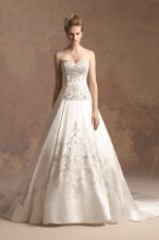 T152015 Traditional satin ball gown with beaded embroidered accents on bodice, skirt, and semi-cathedral length train.