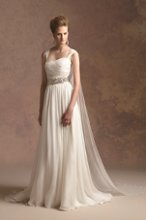 T152018 Silk georgette gown with beaded sash at waist and detachable straps and train.