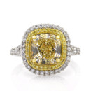 <b>4.77ctw Fancy Light Yellow Cushion Cut Diamond Engagement Anniversary Ring</b> <br /> This delicious fancy yellow cushion cut diamond engagement ring features a fancy yellow halo and a white diamond halo.